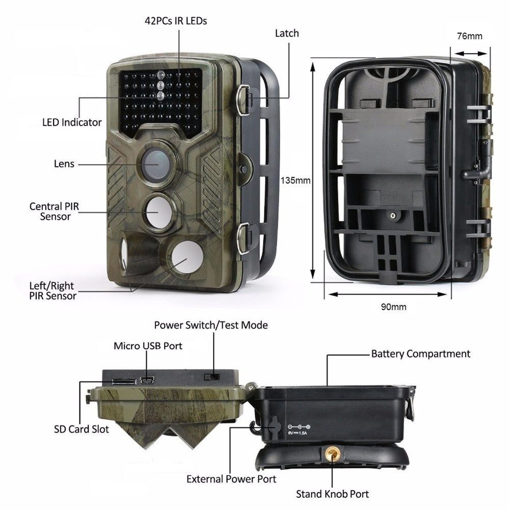 HC-800A 1080P 16MP Digital Waterproof Hunting Trail Camera Infrared Night Vision Scouting Camera for Wildlife Hunting Monitoring and Farm Security