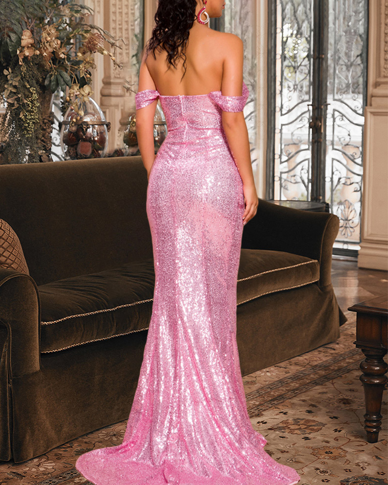 Off-The-Shoulder Sequin Fish Tail Evening Dress
