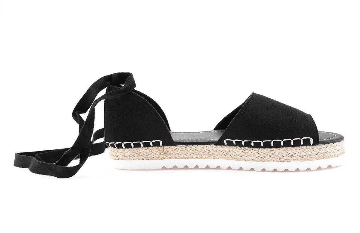 Zoeyootd Peep Toe Lace-up Espadrilles Flats