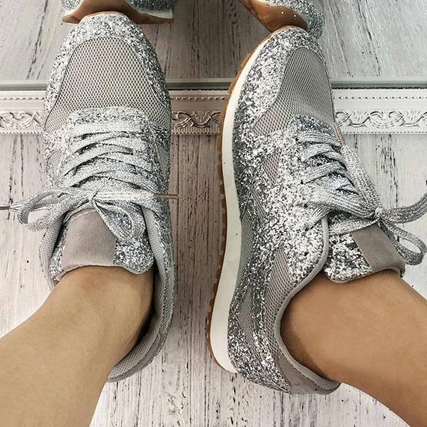 Zoeyootd Women'S Solid Sequined Lace-Up Sneakers