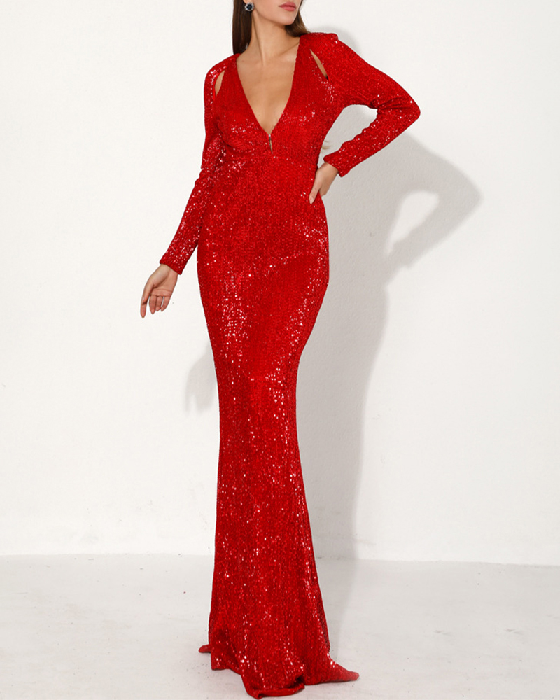 Deep V-Neck Sequined Long Sleeve Evening Dress