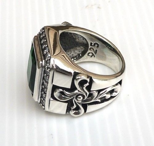 Business Men's Fashion 925 Sterling Silver Luxury Retro 10.25CT Natural Emerald Ring Wedding Engagement Party Ring Size 5-11