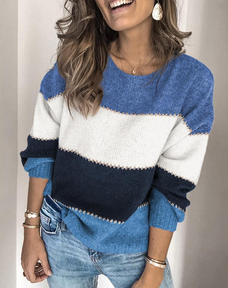 Women Pullovers Striped Shift Fall Winter Casual Color Block Sweater