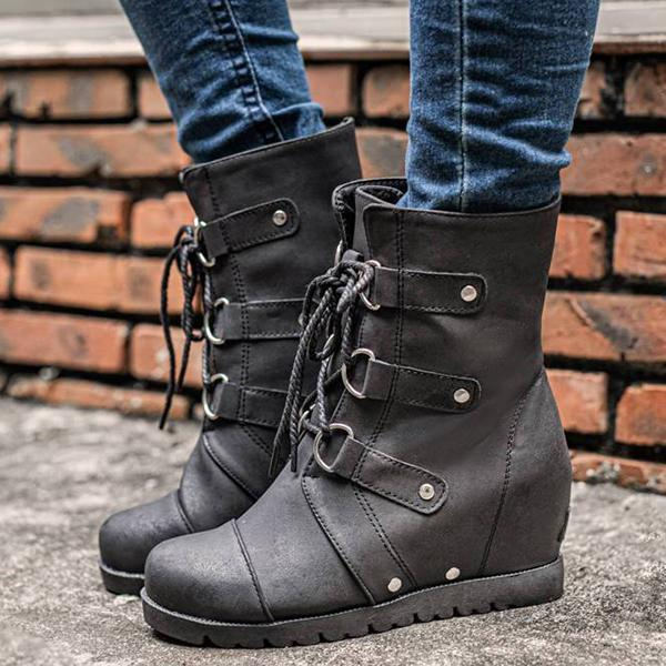 Upawear Fashion Wedge Heel Lace-up Ankle Boots