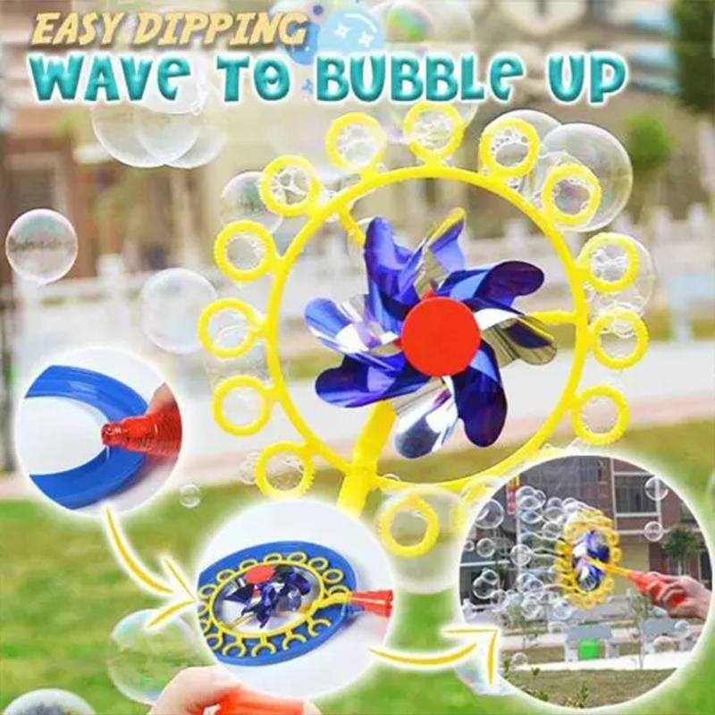 Windmill Bubble Wand, 15.5 Inch Bubble Blower and Pinwheel Spinner