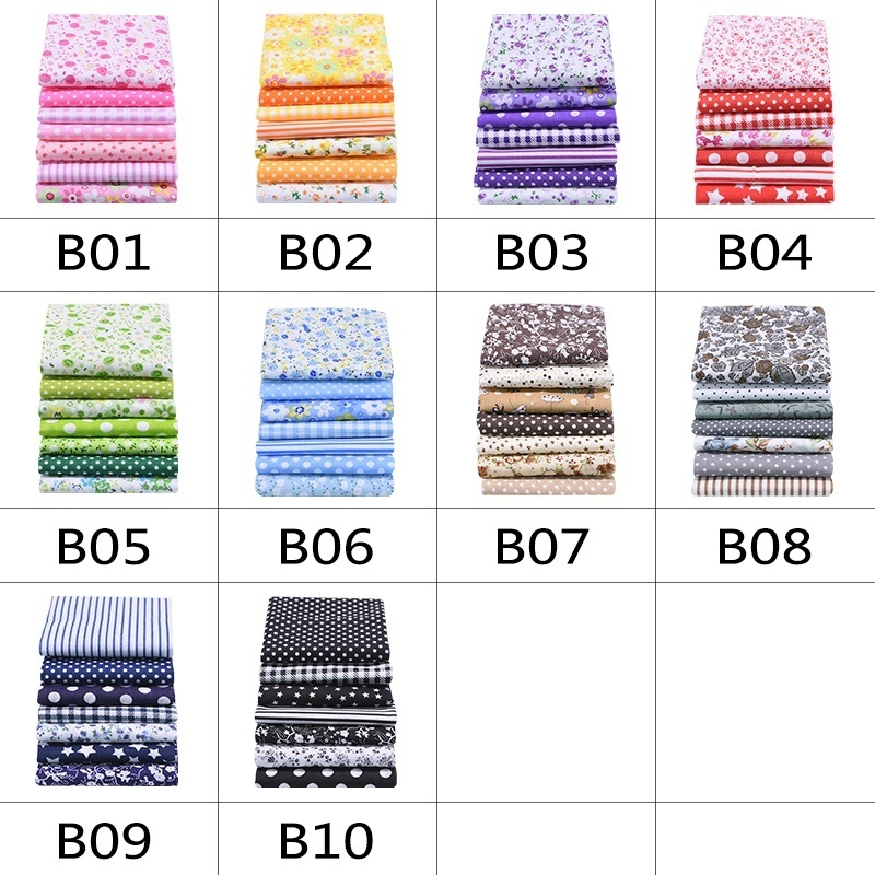 7pcs Mixed Cotton Printed Sewing fabric for Needlework DIY Handmade Craft Cotton Cloth With flower 25cm*25cm