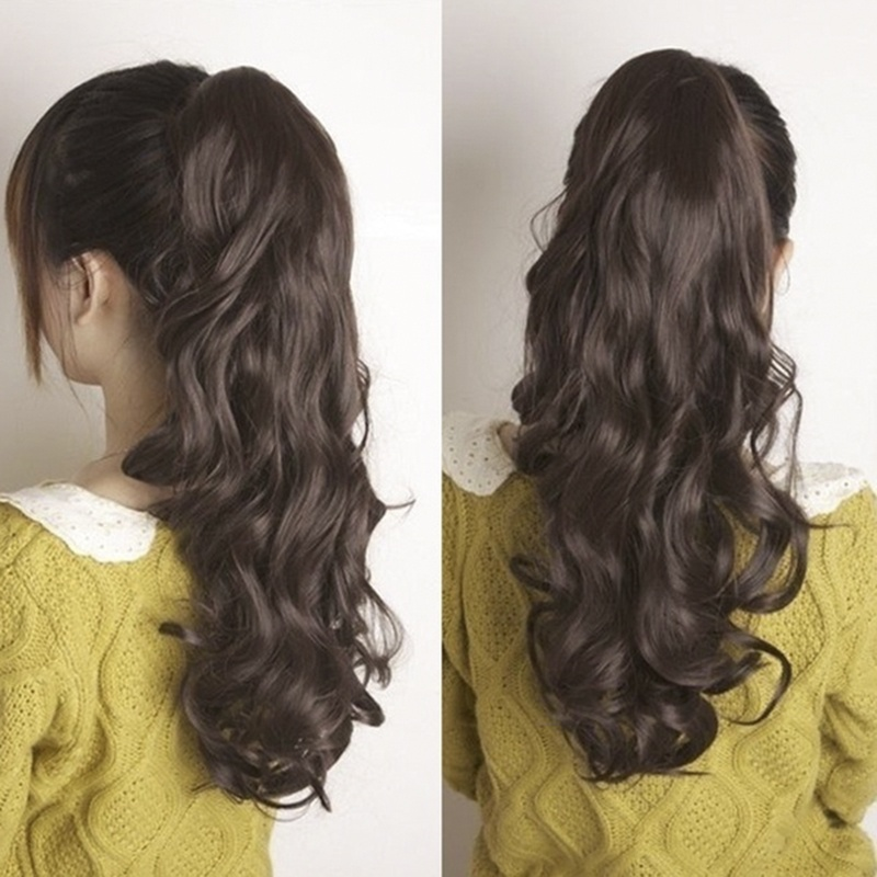 24Inch Womens & Girls Long Wavy Ponytail Wigs Claw Clip Pony Tail Hair Extensions Black Brown Blonde