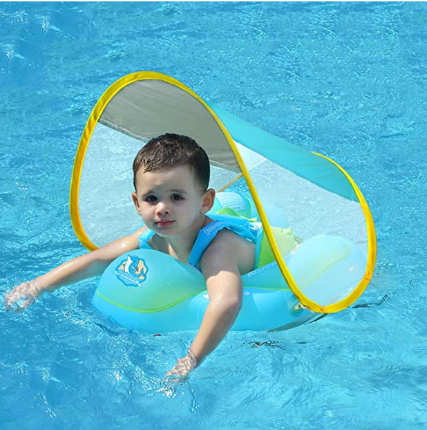 Free Swimming Baby Inflatable Baby Swim Float Children Waist Ring Inflatable Pool Floats Toys Swimming Pool Accessories for The Age of 3-72 Months(Blue, S)