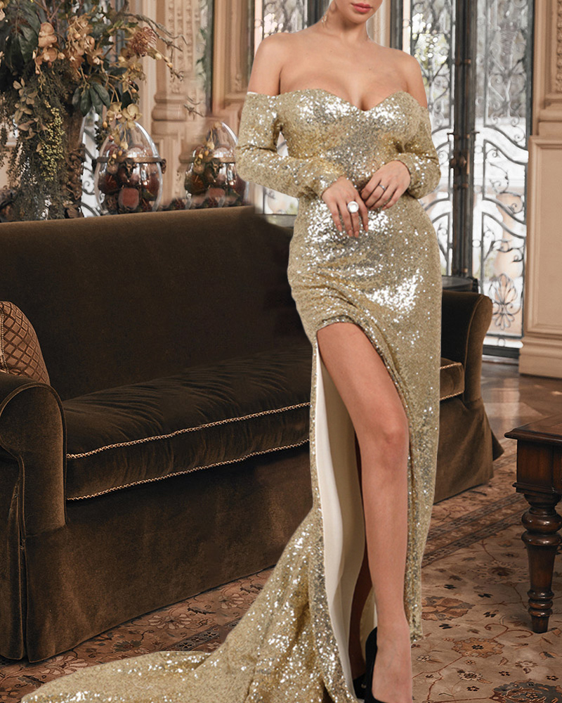 Sexy Tube Top Long Sleeve Sequin Evening Dress