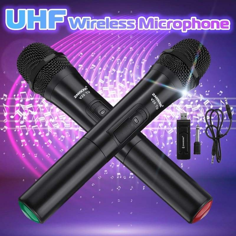 1/2pcs V10(200-270MHz)/V20(700-800MHz) Professional UHF Dual Wireless Microphone System Kits 2 Channel Cordless