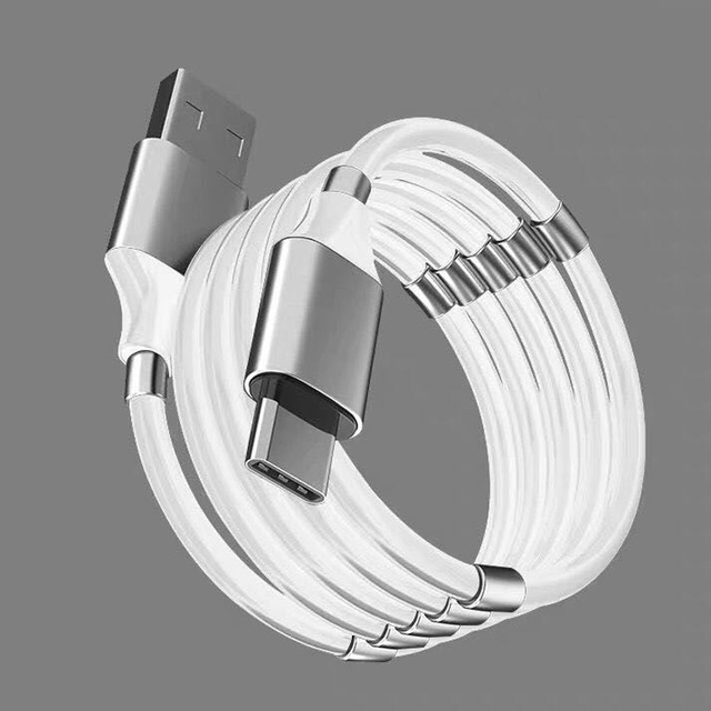 (Christmas promotion!)Self Winding USB Magnetic Absorption Magic Charging Data Cable