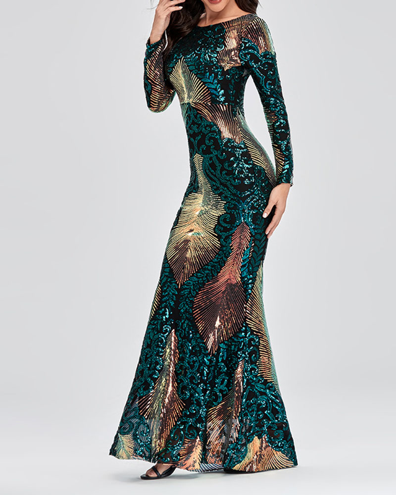 Backless Sequined Fishtail Evening Dress
