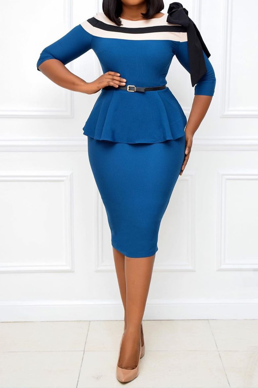 Plus Size Women's Clothing Color Matching Lotus Leaf Occupation Tight Dress