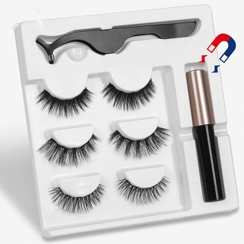 3 Pairs/set Magnetic Eyelashs set Magnet Liquid Eyeliner& Magnetic Lashes & Tweezer Set Waterproof Long Lasting Eyelash Extension