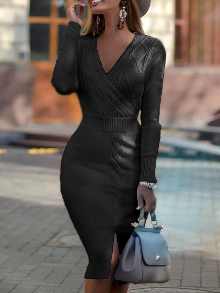 Mid-Calf Long Sleeve V-Neck Plain Sheath Dress
