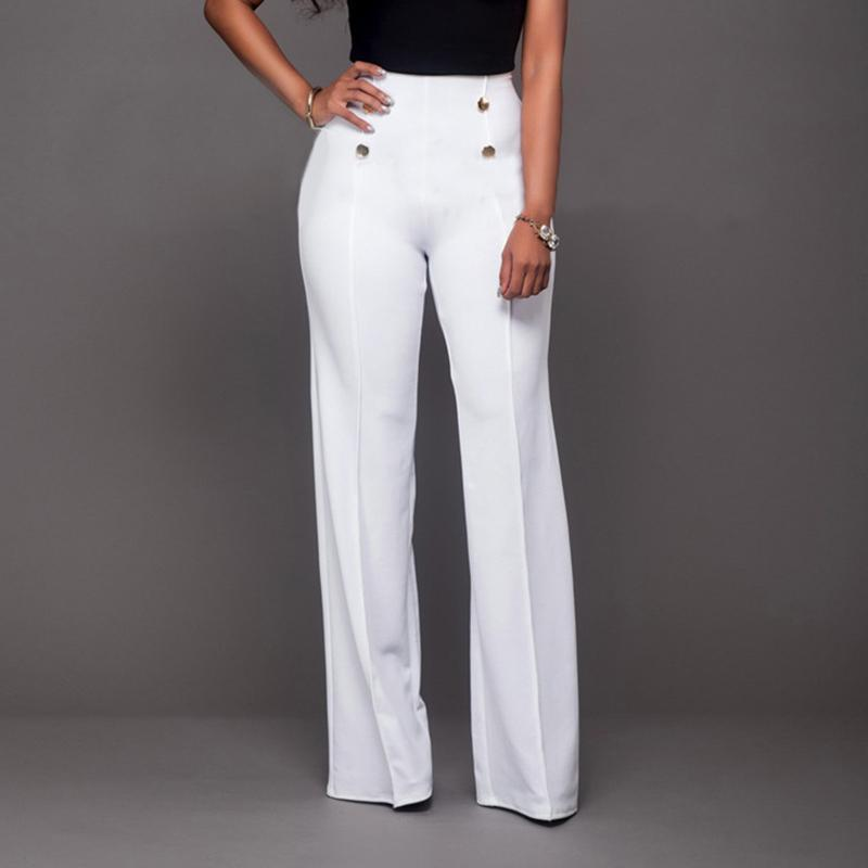 Fashion Slim Button High Waist Women Flare Pants