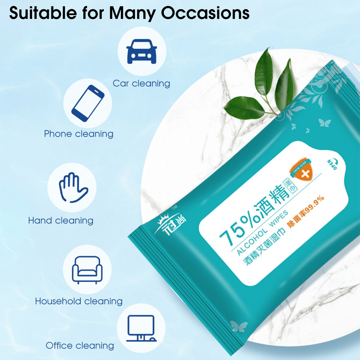 10/50/100 PCS Pack 75% Alcohol Disinfection Wipes Portable Sterilization Wet Wipe Swabs