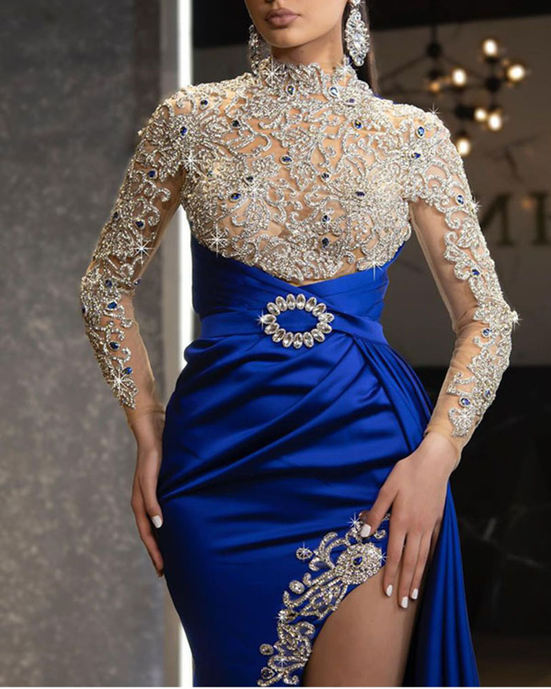 Sequined Long Sleeve Slim Maxi Evening Gown