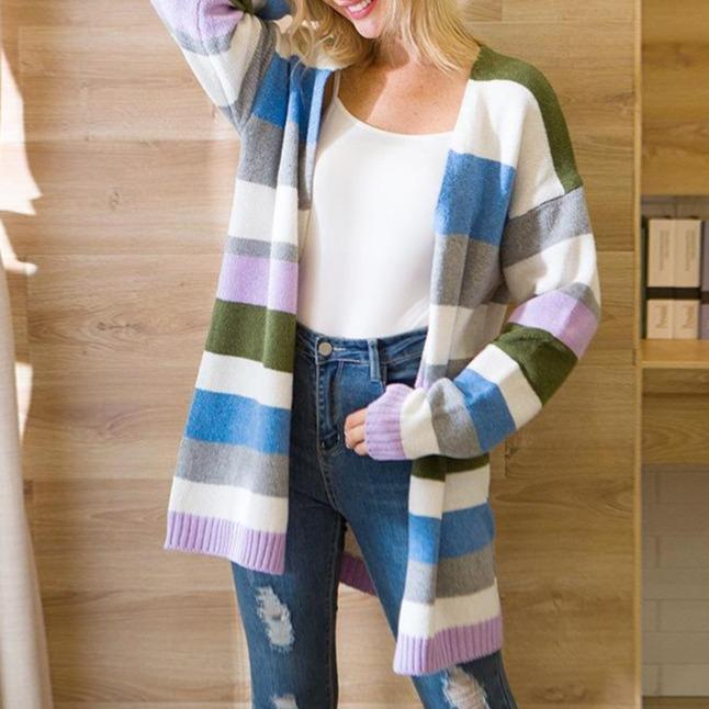 Women's open front color striped knitted cardigan long sleeve fall cardigan