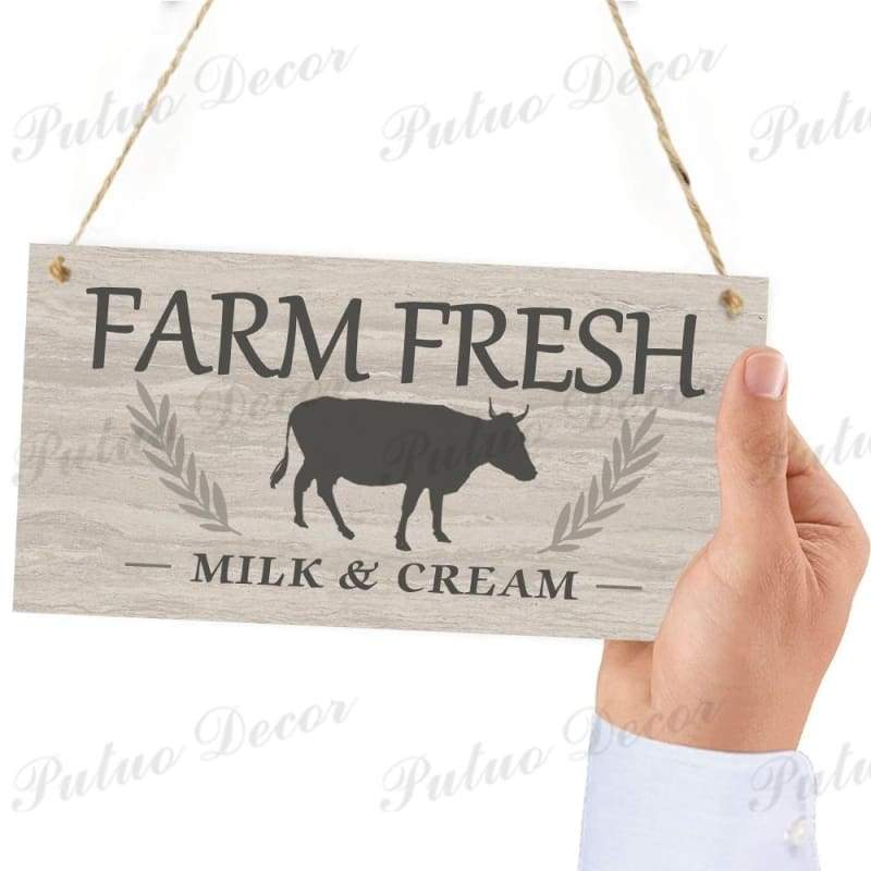 12 Kinds of Farm Fresh Milk Wooden Hanging Plaques Cow Signs Gifts Farmhouse Home Decoration 3.9'¡Á7.8'