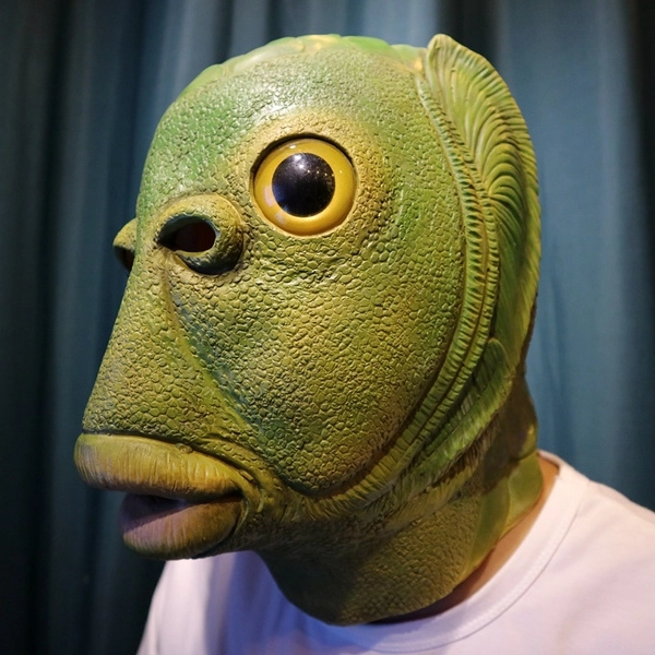Latex Monster Fish Mask Headgear