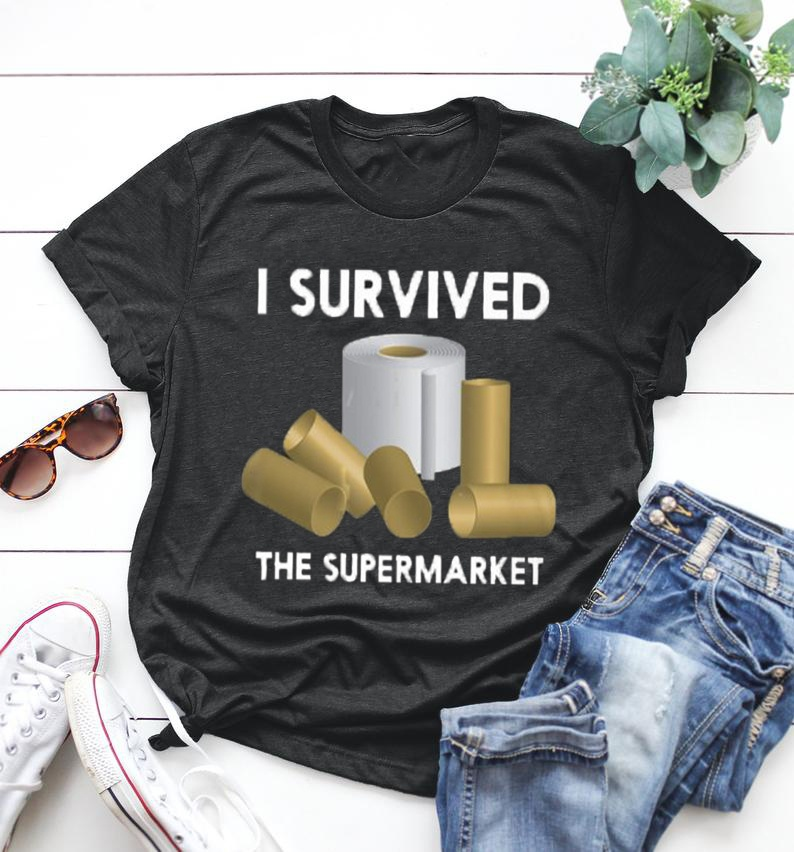 Women Fashion O-neck Short Sleeve Toilet Paper I Survived Printing Casual Cotton Funny T Shirt