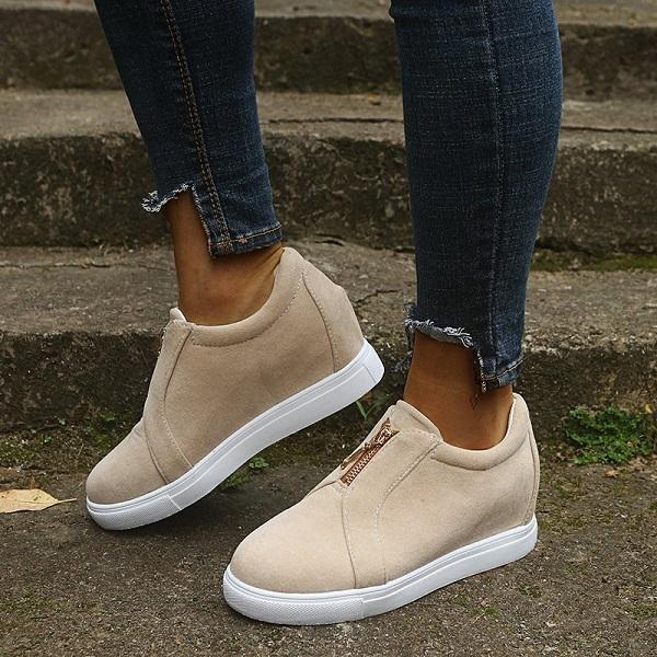 Mokoshoes Womens All Season Zipper Casual Sneakers