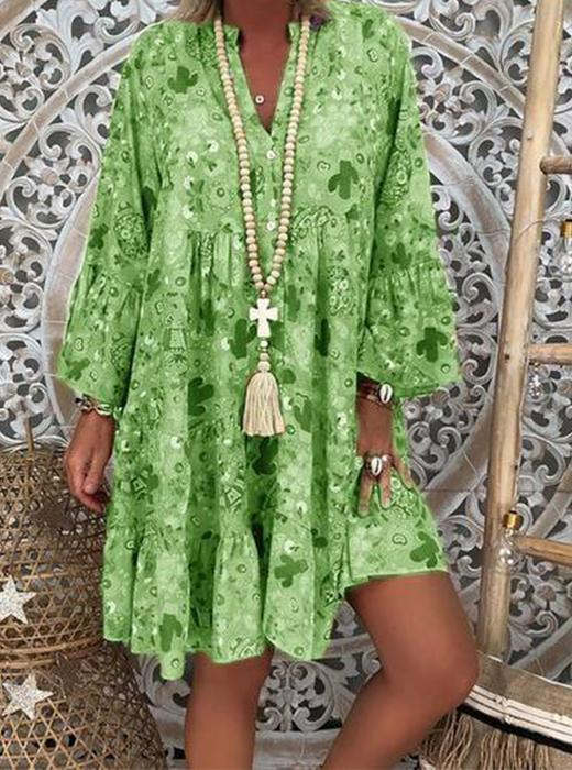 Bohemian Stand Collar Floral Long Sleeve Ruffled Dress