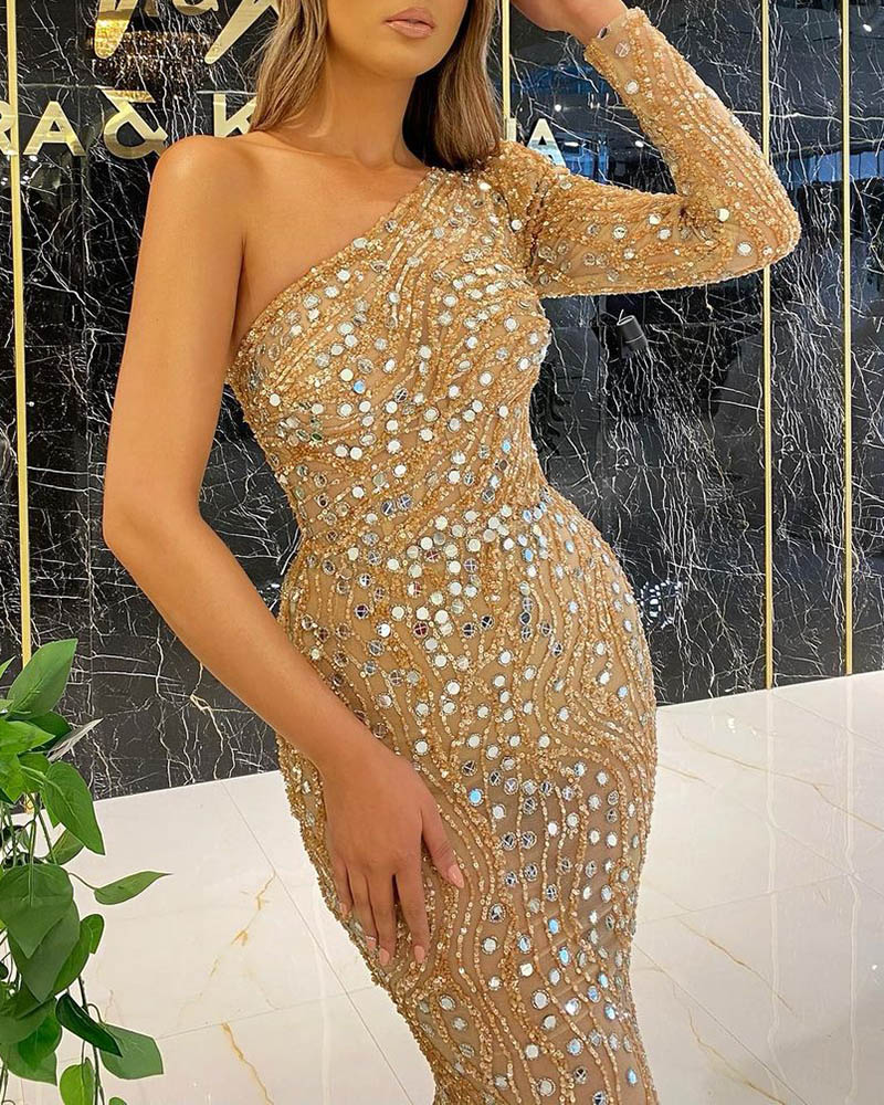 Fashion One-Sleeve Sequin Evening Dress