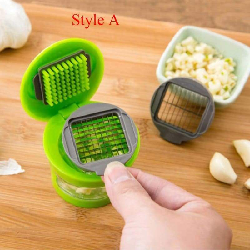 Mini Garlic Chopper Portable ABS Stainless Steel Garlic Press with Garlic Peeler Kitchen Gadgets