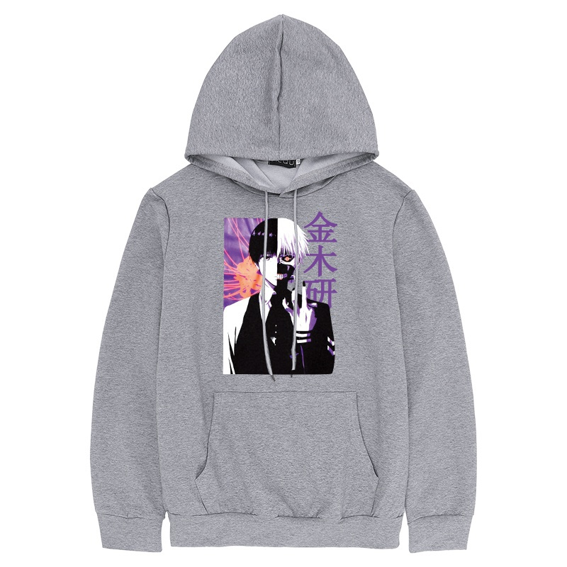 New Arrival Japanese Anime Tokyo Ghoul Cosplay 金木研 Kaneki Ken Printed Hoodie Pullover Sweatshirt Tops For Men Women