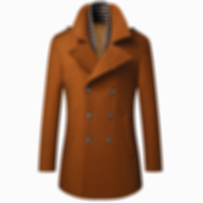 Mens Wool Detachable Plain Collar Casual Business Mid Long Pea Coat