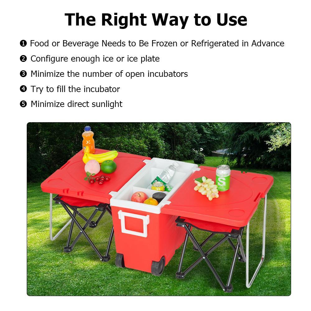 Outdoor Foldable Multi-function Rolling Cooler Upgraded Stool [Delivery in 5-10 days]