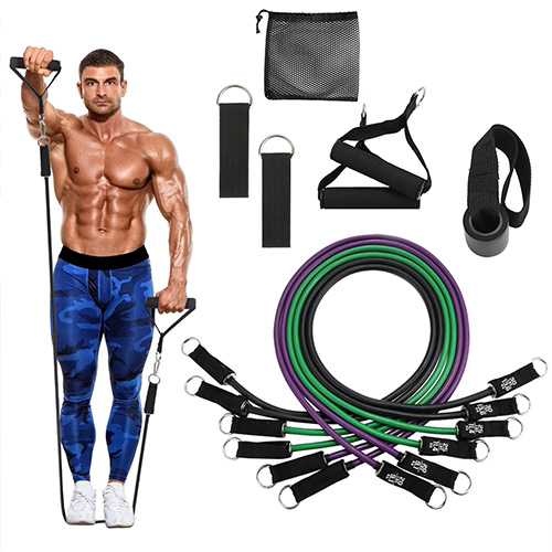 (150 Pounds) Enhanced 16-piece Resistance Tube Set with Handles