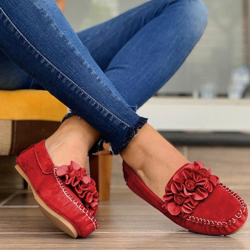 Women's flat loafers flower décor slip on casual shoes