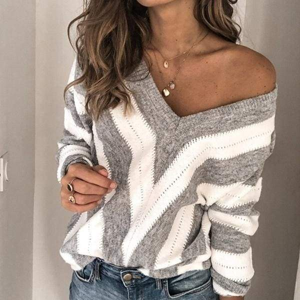 New Fashion Woman Autumn and Winter Women's V-neck Stitching sweater Casual Sweater Jumpers Plus Size XS-5XL