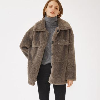 from attitude oversized autumn and winter new release Beach wool Imitation lambs wool fur coat women-Casual Outwear 2.11