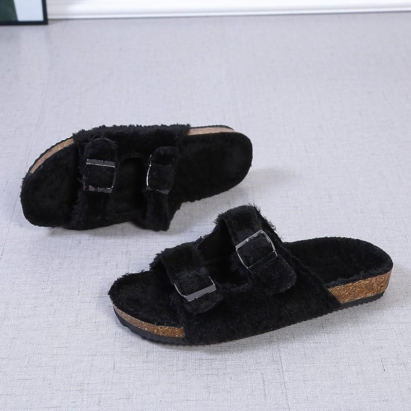 2 straps furry slippers fashion fall/winter house shoes