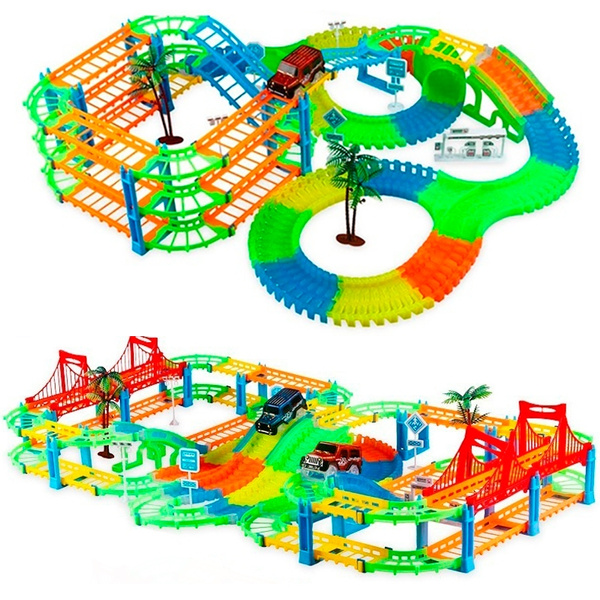 Flexible Racing Track Set with Over 180 Pcs Railway Train Cars Toys Assembly DIY Building Kit Educational Toys for Children Kids