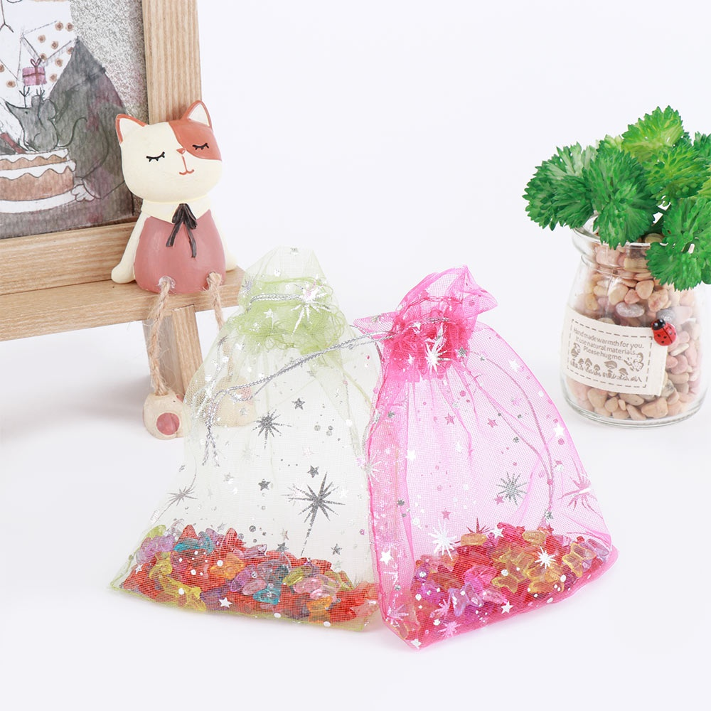 Stunning Drawstring Star Decoration Wedding Christmas Favor 50pcs/lot Organza Bags Jewelry Packaging Gift Bags Candy Pouches