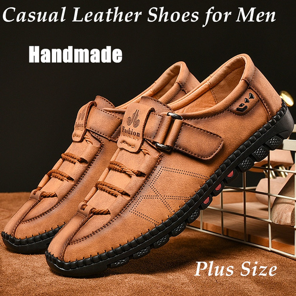 Hiking Shoes for Men Handmade Leather Shoes Casual Loafers Sandals for Men Business Style Outdoor Shoes Camping Shoes Plus Size EU38-48