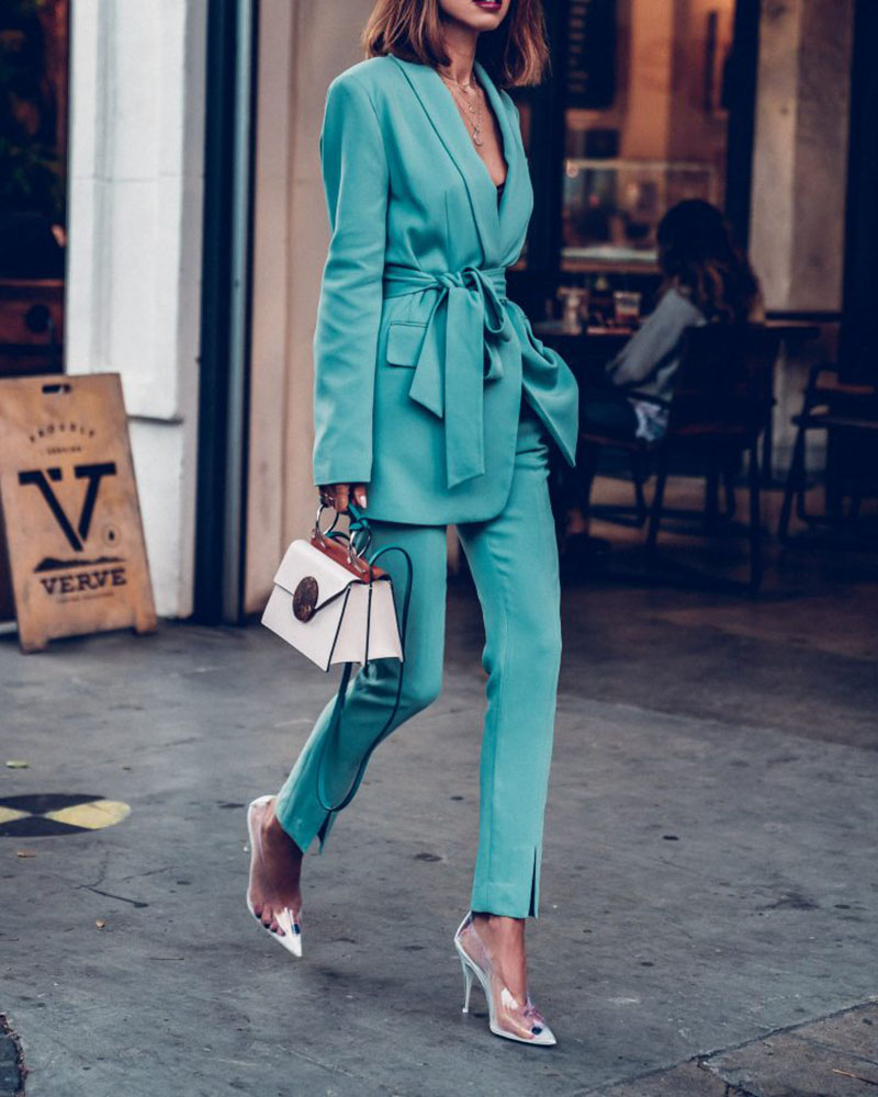 Solid Color Belted Blazer Pants Two-piece Suit