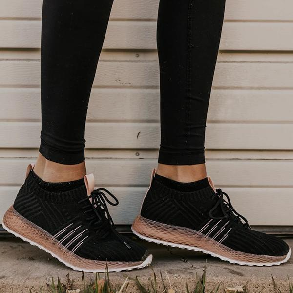 Zoeyootd Comfy Pink Stripe Athletic Sneakers