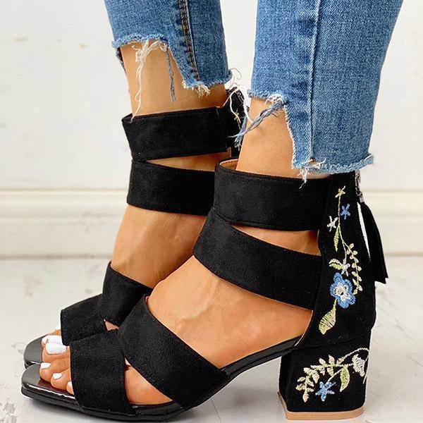 Mokoshoes Floral Embroidered Zipper Chunky Heeled Sandals