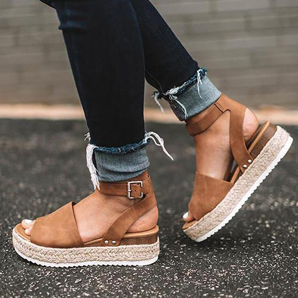 Zoeyootd Espadrilles Ankle Strap Wedge Sandals