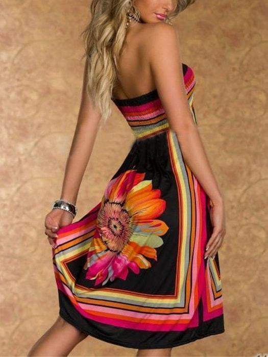 Floral Print Contrast Color Bandeau Halter Casual Dress