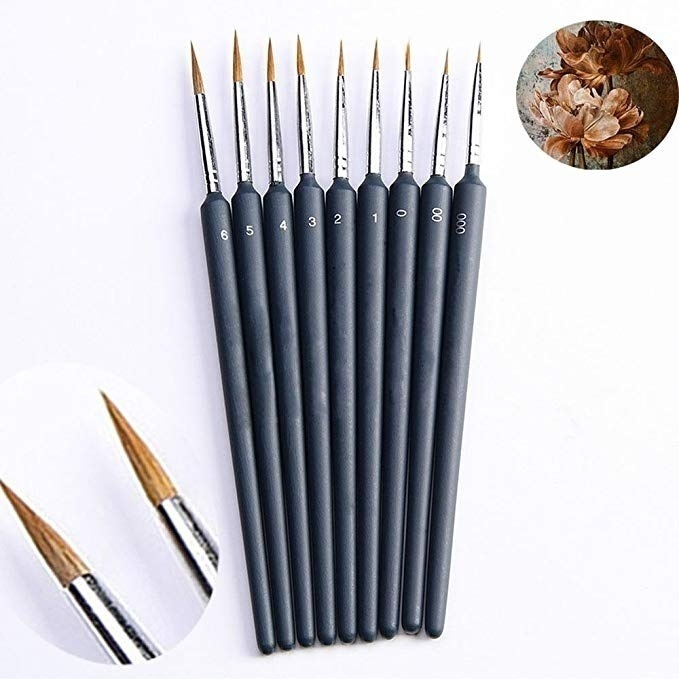 Gouache Watercolor Weasel Hair Detail Painting Brush Wooden Handle Fine Brushes Set Acrylic Drawing Artist Craft Supplies (10 Pcs)