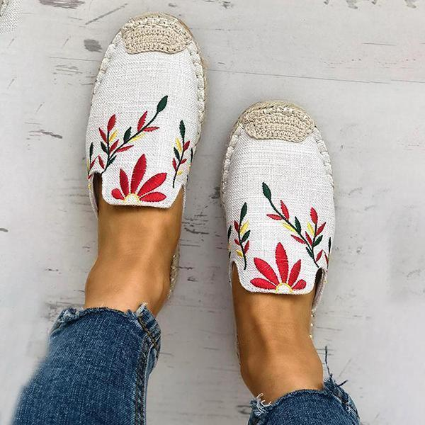 Mokoshoes Fashion Embroidered Espadrille Flat Slippers