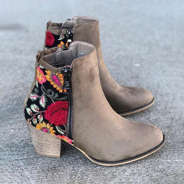 Upawear Vintage Embroidered Chunky Heel Boots