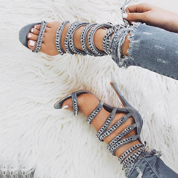 Bonnieshoes Glittering Bandage Lace-up Thin Heels